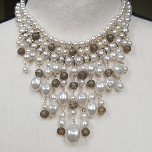Vintage Glass Pearl Beaded Bib Dangle Necklace